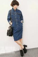 2014 NAVA Autumn and Winter New Arrival Fashion Single Breasted  Elastic Waist Long-sleeve Denim Dress