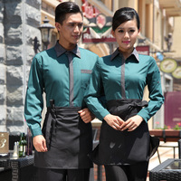 autumn and winter male & female long-sleeve work wear waiter and waitress uniform in hotel and restaurant with apron