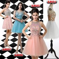 AJ035sexy short evening dresses 2014 New arrival Pink dress short party evening elegant vestido de festa curto com transparencia