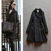 2015 star fashion elegant double breasted coat pleated A line woolen coat women winter outwear
