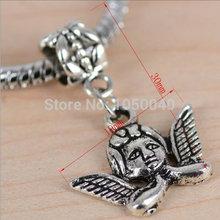 100pcs Antique Silver Tone Beads european Charms fit European Charm Bracelets 3d Lovely Cupid Charm Pendants