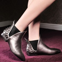 Autumn and winter boots pointed toe thick heel genuine leather boots fashion martin boots flat heel boots genuine leather boots