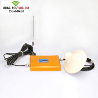 DHL Free Shipping LED Gold Dual Band WCDMA+GSM 900/2100MHZ Mobile Phone Signal Booster /3G+GSM Signal Repeater/3G GSM Amplifier
