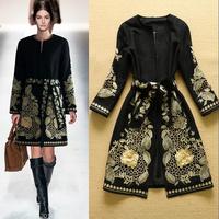 Hot Hot  New 2014 Winter Runway Women's Retro Golden Embroidery Woolen Coat Luxury Overcoat Plus Size S-XXL  F16462