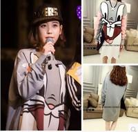 Hot sale New 2014 Autumn Spring Carton T shirts Long-Sleeve sweatshirt bugs bunny loose medium-long sweatshirt outwear