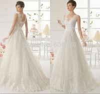 Vestidos 2014 New Simple Tulle Wedding Dress Beach Wedding Dress Vestidos de Noiva with Lace Appliques Handmade Flowers
