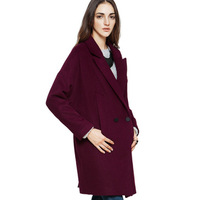 2014 fashion high quality plus size clothing double breasted woolen outerwear design long overcoat female