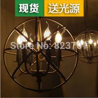 Loft circle iron bar lights american candle pendant light vintage pendant light