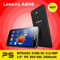 "5.0"" Original 4G FDD LTE Lenovo A606  IPS 854*480 512M RAM 4G ROM 2000mAh Andorid KitKat 4.4  MTK6582 Quad Core 3G WCDMA Phone"