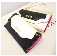 2014 Korean Style Wallet Long Black And White Patchwork Handbag Logo Wallet PU Leather Purse Clutch Women Wallets Brand Design