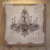 Fashion brief vintage crystal pendant light wool decorative painting meter box colored drawing painting hemp mural