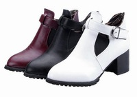 Martin boots women boots 2014 new Knights of autumn and winter boots boots Pure color belt buckle thick with short boots