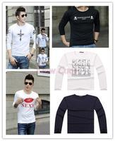 Factory direct famous brand 100% cotton T shirt men with long sleeve tops & tees fashion design men's t-shirt Hundreds models