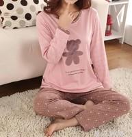 New band causal pajamas set women&girl knitted cotton autumn winter fashion pajamas women clothing free shipping