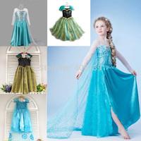 Elsa Dress Cosplay Costume ,Frozen Elsa Costume 2014 Fashion Frozen Anna Dress halloween costume for kids
