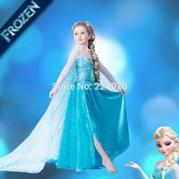New 2-8Y Children Girls Frozen Dress Kids baby girls Elsa Anna beautiful Dress princess Dress Children's Cloting Free Shipping