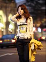 2014 autumn women's slim basic shirt 100% cotton o-neck print women's long-sleeve t-shirt freeshipping