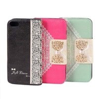 Girls PU Leather Wallet Card Holder Flip Case Cover for 5S