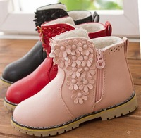 2014 Autumn and winter child boots single boots flower child princess shoes baby medium-leg boots cotton flower sneakers