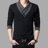 2014 New Mens Autumn Fashion Man T-shirt Casual Slim Fit Long Sleeve T Shirt Men Button Patchwork