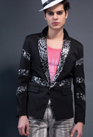 HOT!! Men Blazers Slim  2014 New  fashion leisure Black sequins shiny men's suits blazers jacket coats