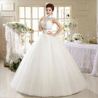 2014 New Arrival Vintage Lace Wedding Dress Floor Length Lace Up Stand Collar Elegant Dresses 537