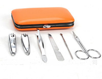 Wholesale 120sets/lot New 6 in 1 nail care set nail cutter utility stainless steel nail clipper manicure tools set kit with case