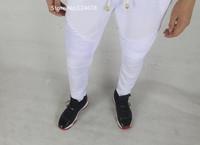 cool white joggers men biker pants skinny sweatpants zipper hip hop bandana balm*in jogging kanye west streetwear urban clothing