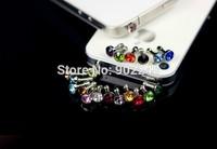 100 pieces Luxury Phone Accessories Small Diamond Rhinestone 3.5mm Dust Plug Earphone Plug For Iphone & Ipad & Samsung& HTC