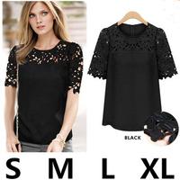 new arrive 2014 female T-shirt short-sleeve shirt lace decoration gauze patchwork slim basic top camisa LJ056LMX free shipping
