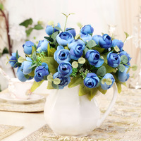 2014 Hot Sale Real Christmas Decoration Modern Romantic Artificial Flower Home Decoration Dining Table Flowers Silk 5 Fork Rose