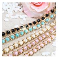 Belly chain female strap decoration female skirt belt female cummerbund candy color fashion all-match pearl 01