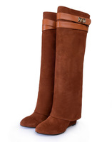 2014 Latest Brown Buckle Knee boots Cow leather Incresing long booties size 10 Riding turn over boots G brand boots