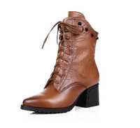2014 high-heeled genuine leather lacing shoes black boots embossed leather boots british style pointed toe martin boots