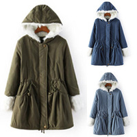 2014 winter women Wadded jacket Army Green female medium-long lady thickening tooling casual down wadded coat blue parkas B2014