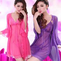 New arrival sexy sleepwear underwear women's uniforms transparent lace robe skirt set summer