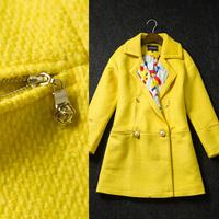 Winter Women's 2014 fashion print Patchwork wool slim Medium-long Outerwear