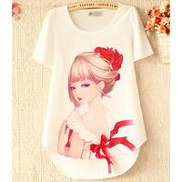 Short Sleeve Chiffon Women's Blouses Korean Style Cartoon Printed Round Neck White Camisas Femininas Blusas Tops c37