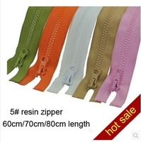 Free shipping 10pcs/lot 5# resin zipper 60cm/70cm/80cm colorful zipper garment's accessories