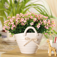 2014 New Arrival Sale Christmas Artificial Bow Cabarets Ceramic Vase Artificial Set Fashion Home Decoration Dining Table Bowyer