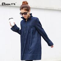 The new large size women's 100% cotton long-sleeved denim shirt jacket coat