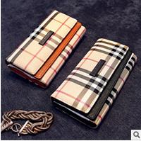 Autumn Winter Handbag 2014 British Style Plaid Wallet Women Wallets Folding Purse Female Handbag High Quality Carteira Feminina