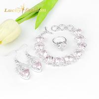 Hot Sale Promotion Silver 925 Fashion Pink Austrian Crystal Ring/Earrings Bracelet Wedding Jewelry Set