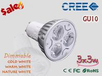 1X Factory Wholesale LED Bulb GU10 9w 3*3W Warm White Cold White 85V~265V 110V 220V Dimmable LED Light LED Spotlight Lamp Bulbs