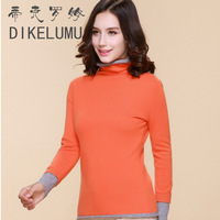 Autumn and winter faux two piece women's turtleneck cashmere sweater heap turtleneck pullover cashmere basic shirt sweater