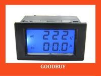 10pcs/lot 200-450V/0-199.9A 2in1 dual display AC Voltmeter Ammeter voltage Current Monitor amp volt panel meter Monitor gauge