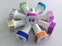 Dual Port  2A +1A LED lighting USB Car Charger adapter for iPhone 5 iPad 3/4  iphone 6 samsung galaxy S4 i9500 note 3 s5