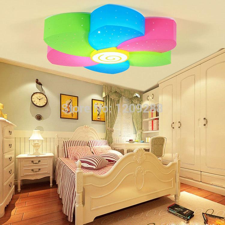 Wecus zeven kleuren bloem kinderen slaapkamer plafondlamp led tricolor bloem cartoon jongens en - Kamer modern meisje ...
