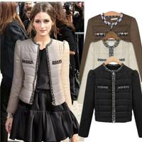 Women's Jacket Coat New Fashion 2014 Autumn Winter Patchwork Women Short Thicken Cotton-Padded Jacket Female Plus Size 1410153