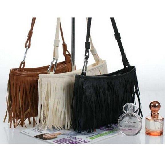 New 2014 Women's Tassel Shoulder Bag Vintage Handbag 3 Colors Gift Women Leather Messenger Bag Fringed Wholesale L7-152(China (Mainland))